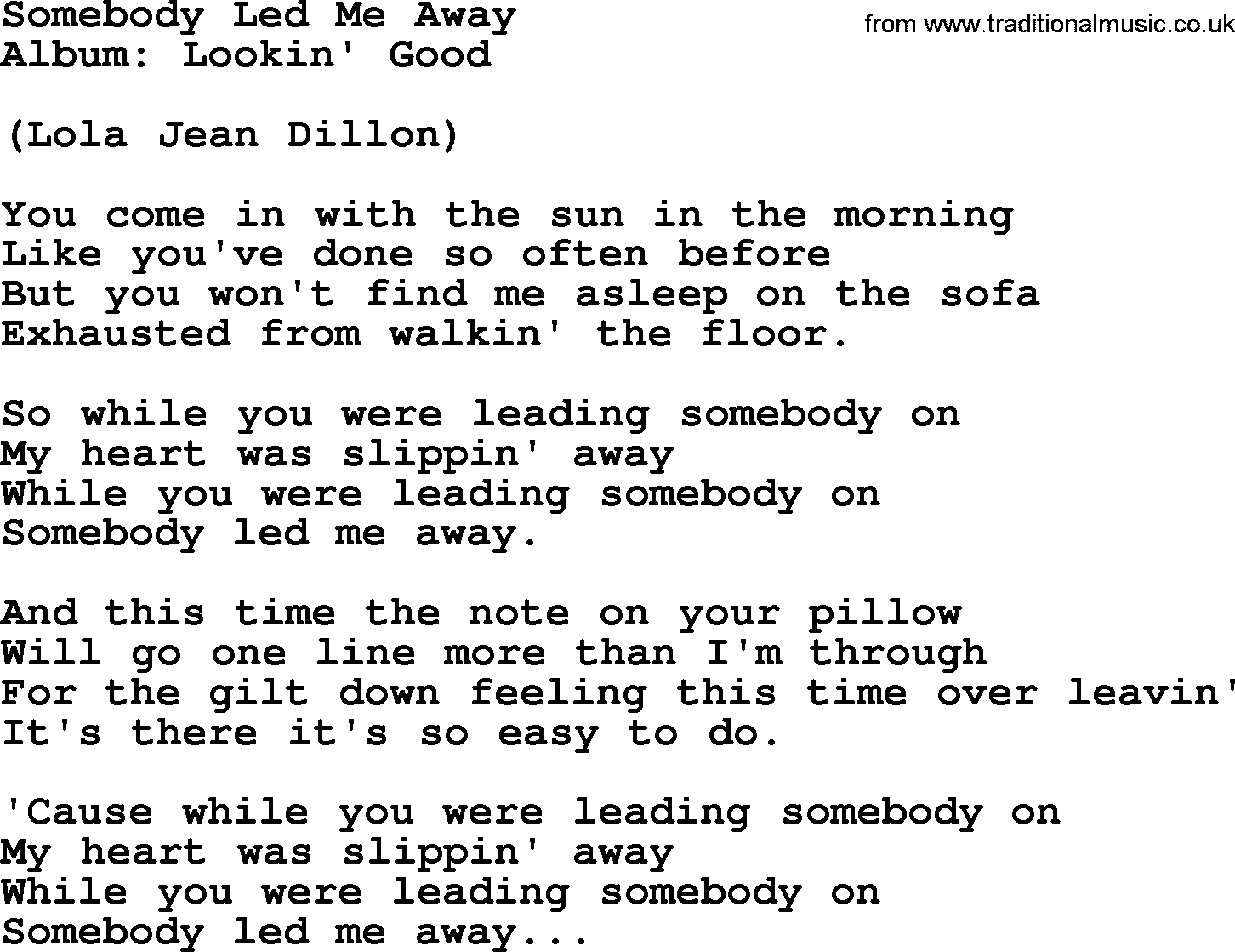 Sofa Easy Lyrics Loretta Lynn Song Somebody Led Me Away Lyrics