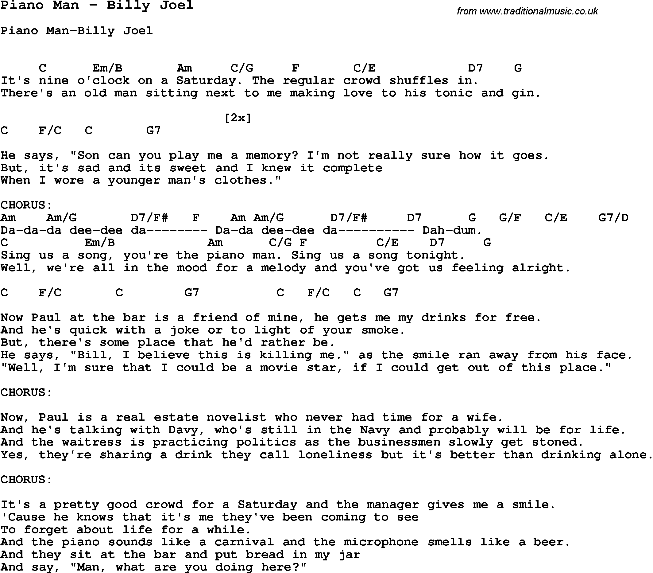 Billy Joel Piano Man Billy Joel Piano Man Pdf