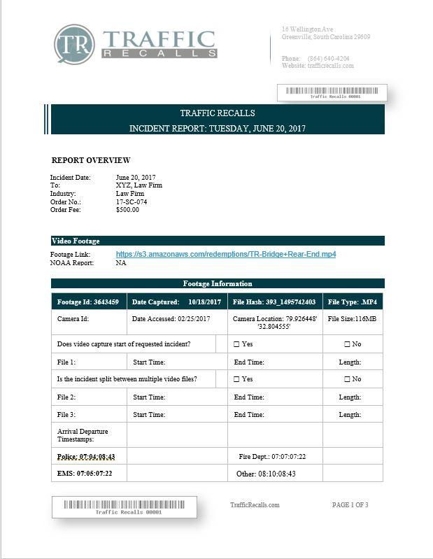 Sample Report - Traffic Recalls, LLC - sample report