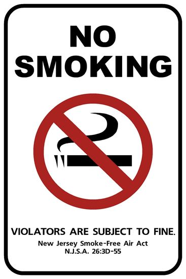 New Jersey Official No Smoking Sign NJNS-1