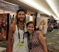 Picture of Anton Krupicka with Yamilet Nieto at the Ultimate Direction booth