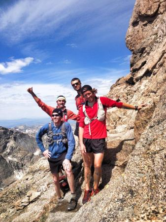 Yours truly with several ultrarunning buddies on the climb to Longs Peak summit.