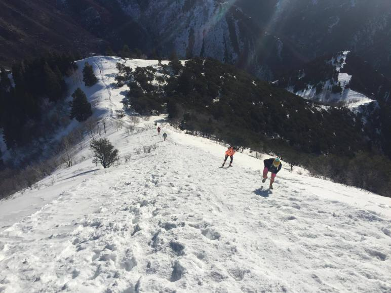 Runners make their way up the final steep push to the summit. Photo: Quintin Barney