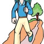 boy walking on trail