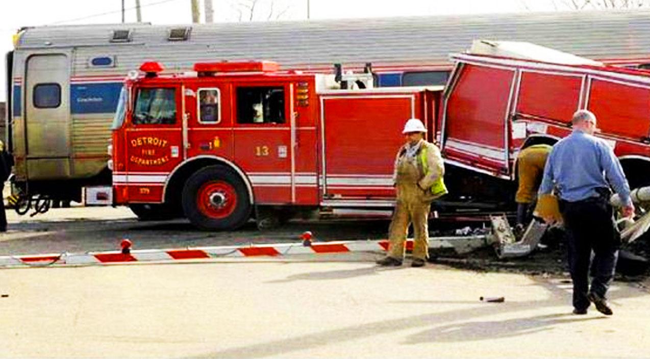 Hook And Ladder Fire Truck Vs Amtrak Train Train Fanatics