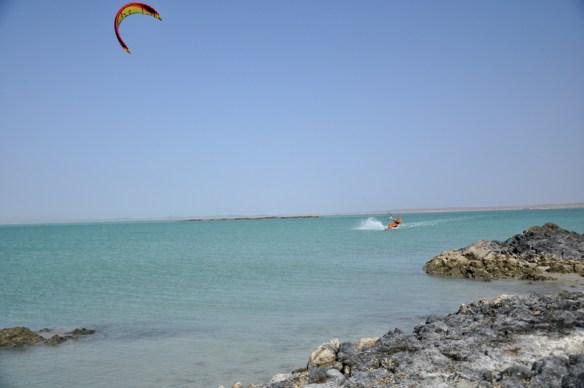 Kitesurfing in Masirah, Oman.