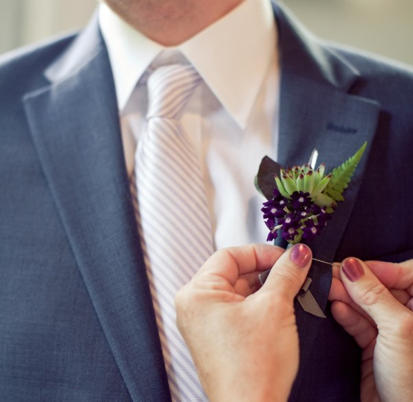 Handmade crystal and flower boutonnierres