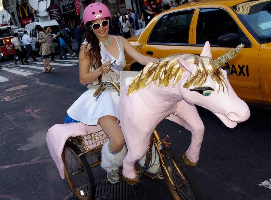 girl riding a unicorn