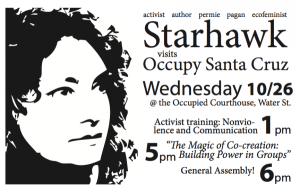 Starhawk recently spoke to Occupy Santa Cruz about communication, co-creation, and as a guest at their General Assembly. Her newest book may become the essential Occupy How To. Photo: OccupySantaCruz.