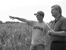 Secretary of Agriculture Tom Vilsack with a farmer