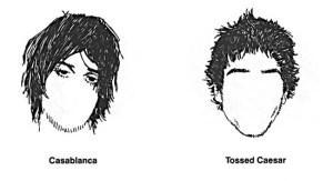 Two hairstyles for him from The Hipster Handbook.