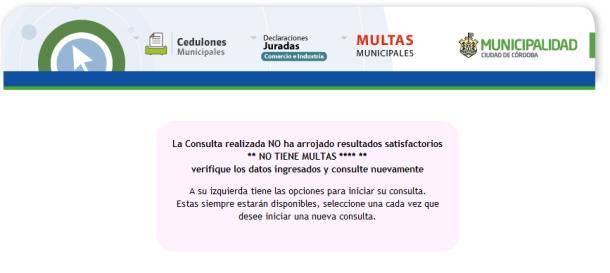 Sitio web de la Municipalidad de Córdoba. Mensaje del sistema de consultas de multas de tránsito de Córdoba capital en caso de no registrarse actas