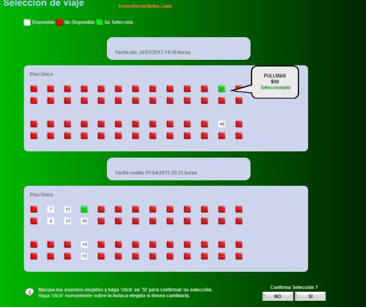 Selección de asientos para comprar boletos on line de Ferrocentral.