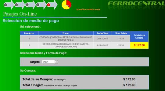 Seleccionar medio de pago para comprar pasajes on line de Ferrocentral.