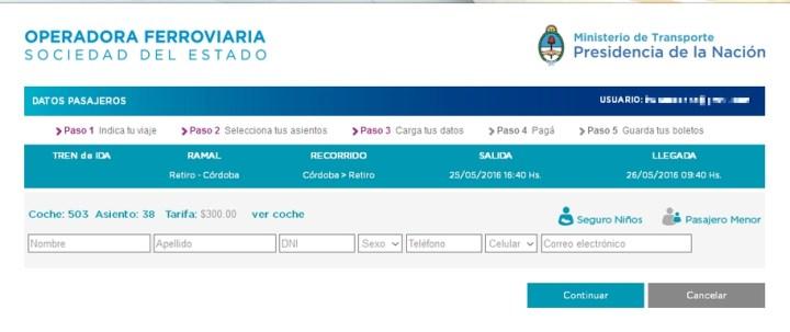 Compra de pasajes por internet para el tren a Retiro - 4