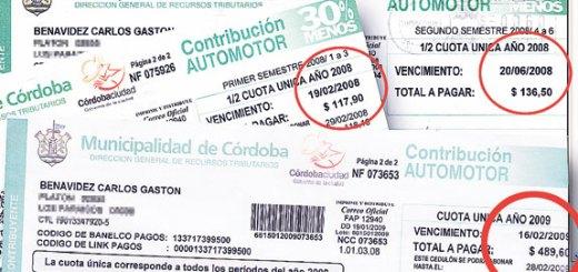 impuestos automotores municipalidad de cordoba