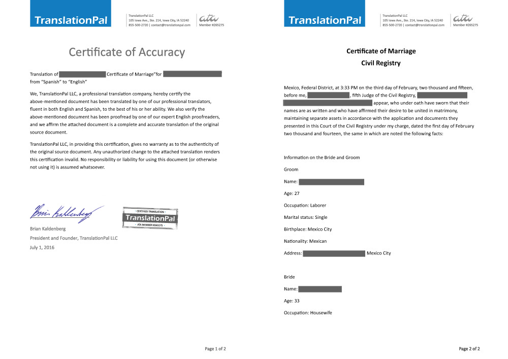 Marriage Certificate Translation TranslationPal - marriage certificate