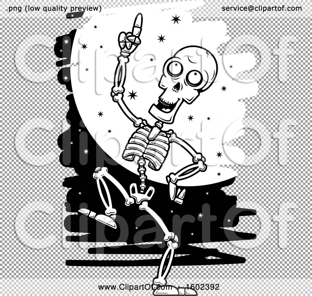 Full Moon Drawing Black And White Clipart Of A Cartoon Black And White Dancing Skeleton Against A