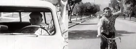"""Colagem do vídeo """"Drive your bicycle"""" de 1954"""