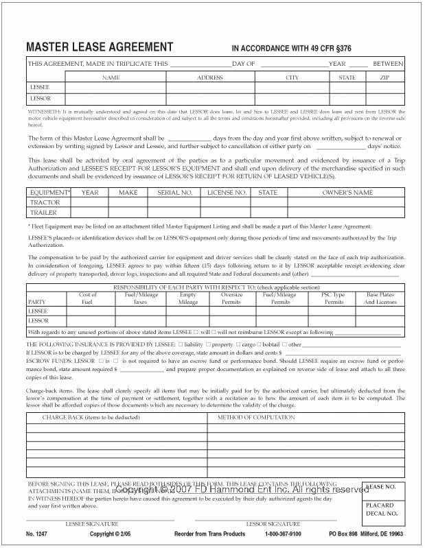 Master Lease Agreement Commercial Sublet Lease Agreement Template - equipment lease agreement template