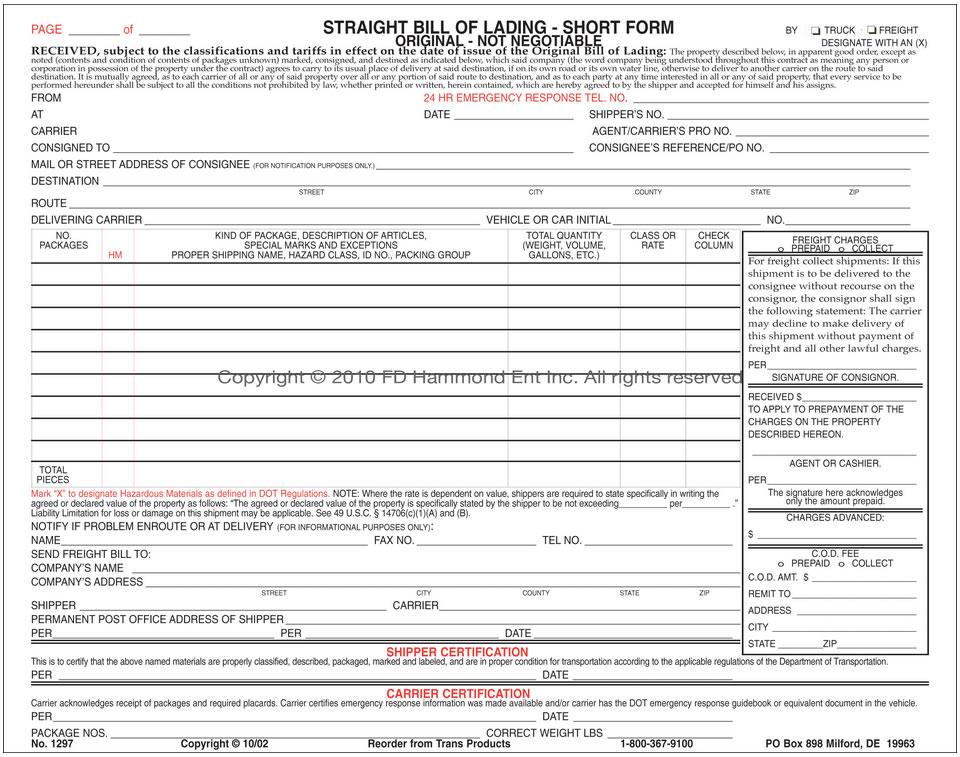 straight bill of lading template - short bill of lading