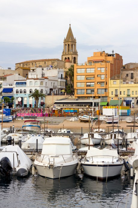 """Port and touristic village of Palamos, Costa Brava (Catalonia, Spain). Many fishing boats moored."""