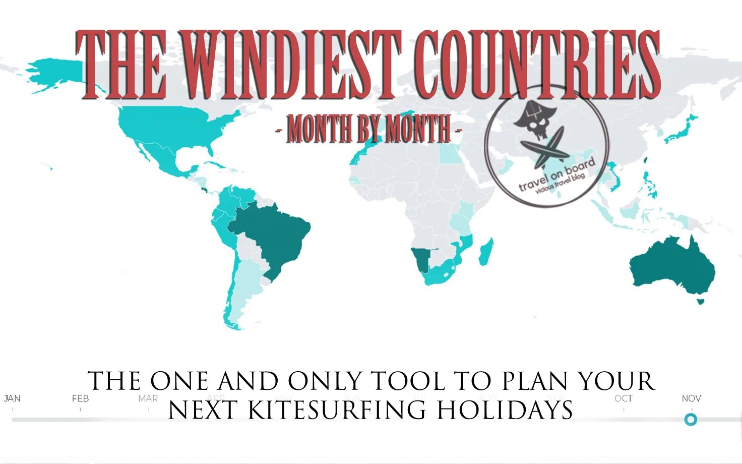 Travel Blog With Map Map With The Windiest Kitesurfing Destinations Month By Month
