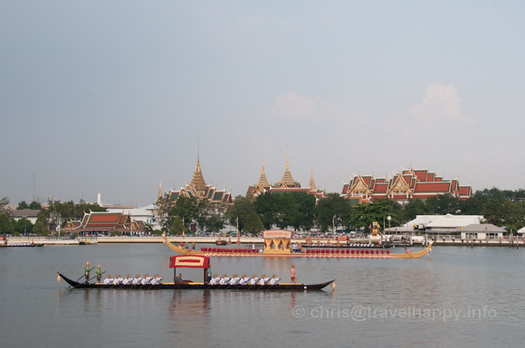 Dang Barge and Royal Barge Anekkacharphuchongin front of the Grand Palace, Royal Barges Procession