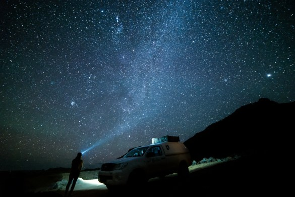 While driving at night is not recommended, using your adventure vehicle in night photo compositions is always recommended.