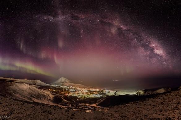 Antarctica Night Milky Way Aurora