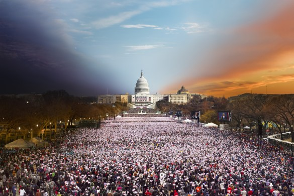 © STEPHEN WILKES, Presidential Inauguration, Washington, D.C. (from the series Day to Night), 2013, courtesy the artist and Robert Klein Gallery]