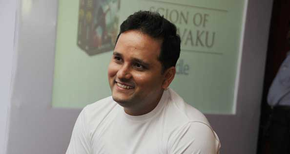Indian Author Amish Tripathi during his book launch 'Scion of Ikshvaku'. Courtesy of Getty Images