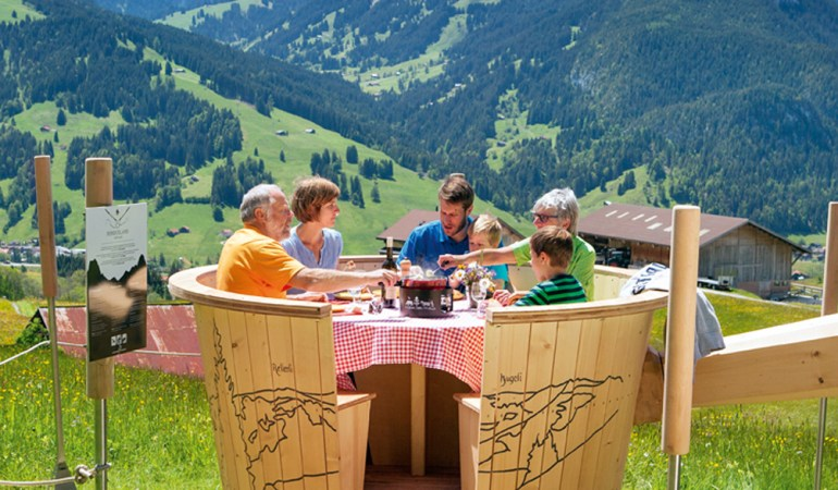 A family staying at Gstaad Palace, Switzerland.