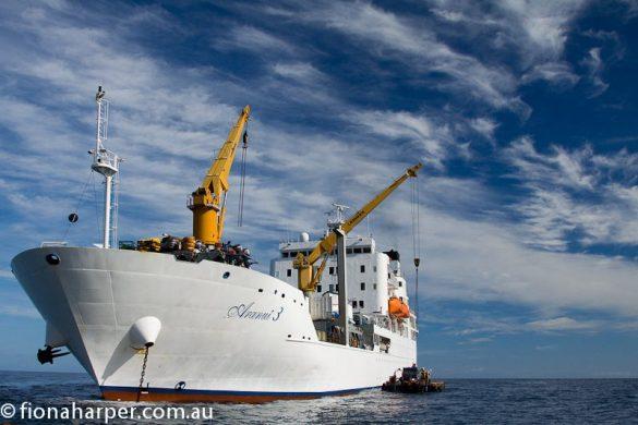 Aranui3 anchored at Fata Hiva Island