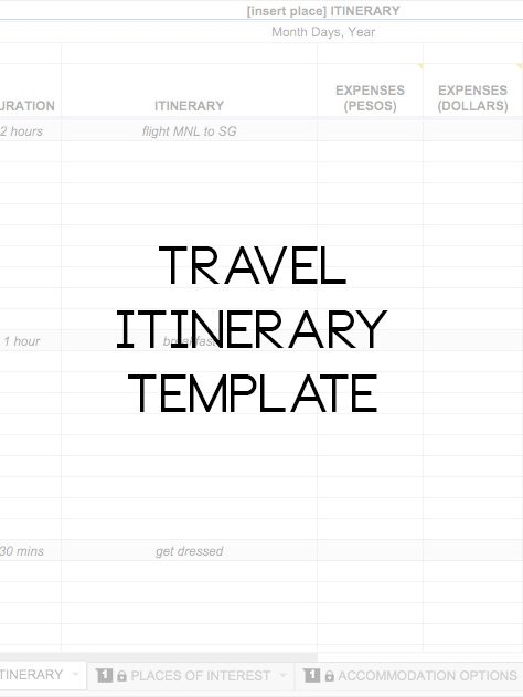 Downloadable Travel Itinerary Template - Travel Finds