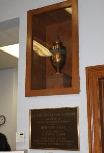 Lilyan Stratton Corbin urn in library wall niche