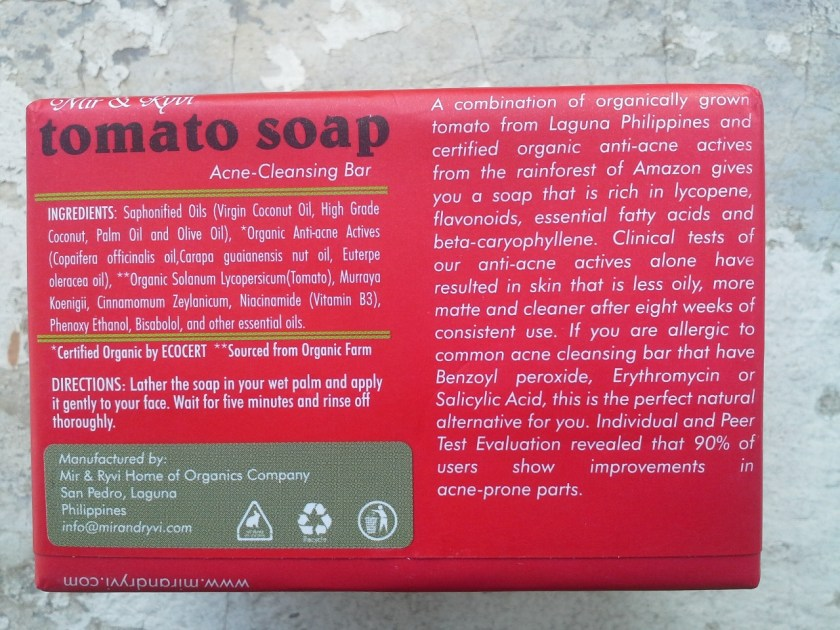 Mir & Ryvi tomato soap ingredients list