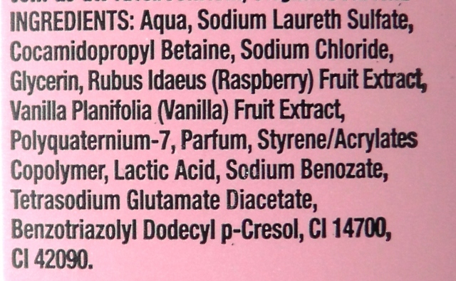 Vanilla and Raspberry Shower Gel Ingredient List