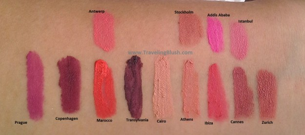 NYX Soft Matte Lip Creams, 13 colors swatched.