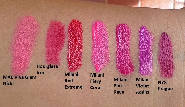 Milani Lip Intense in comparison (click to enlarge)