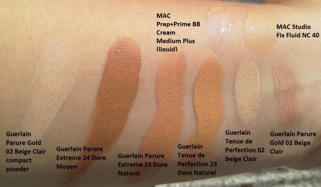 Click to enlarge: Guerlain foundations (left to right): Parure Gold, Tenue de Perfection, Parure Extreme