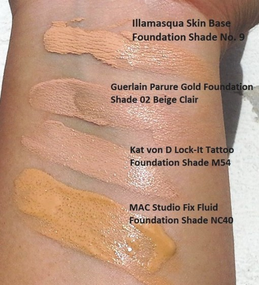 Left: one sheer layer on bare skin (no moisturizer etc); Rgh: topped with blush and loose powder. Note that the finish with or without moisturizer does not vary much. Click to enlarge.