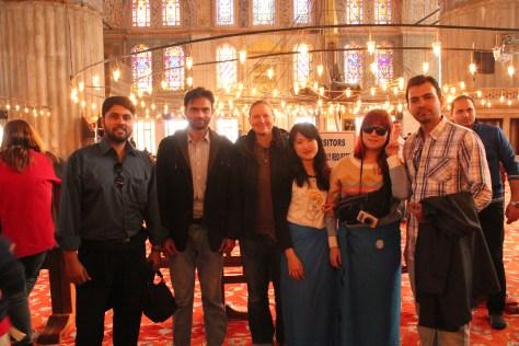 International Group Photograph in Blue Mosque; Istanbul, Turkey; 2013