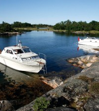 Boats anchored up at Stora Lönnskär, just outside the city of Norrtälje.
