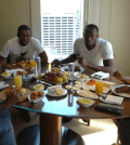 World's fastest man having breakfast in a Sydney hotel with his buddies. Photo: jetflyboy/hotelchatter.com