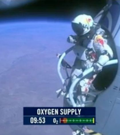 Baumgartner about to step off his capsule.