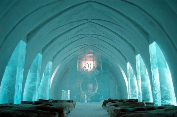 The Ice Hotel in Jukkasjaervi, Sweden.