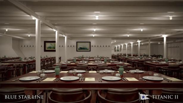 What the dining hall will look like onboard the Titanic II. Photo: Blue Star Line handout