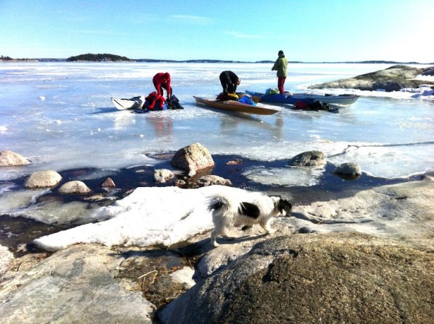 April 6, 2013. Kayakers have just made land at Björkvik, just outside of Stockholm, Sweden.