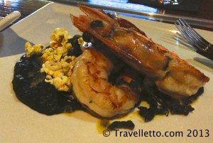 King prawns with konbu eggplant and smoked popped corn